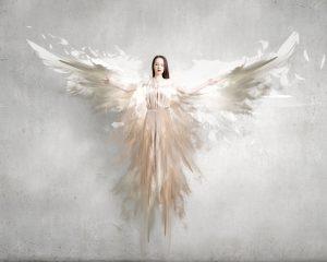 Angel girl in dress